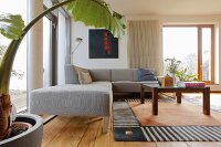Grey corner sofa, coffee table and large house plant