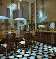 Antique chairs around table under pendant lamps in elegant interior with geometric tiled floor