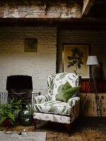 Chair with fern-patterned upholstery