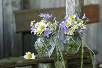 Romantic posies of wild campanula, ox-eye daisies and chamomile in glass vases
