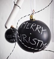 Chalkboard Christmas bauble with chalk motto
