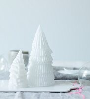 White paper cones stacked to make small Christmas tree