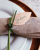 Linen napkin with wooden name tag