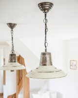 Vintage pendant lamps with white-painted metal lampshades