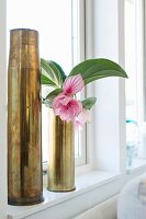 Small pink flower in one of two brass vases made from shell casings on windowsill