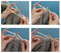 A cableknit pattern being knitted with wooden knitting needles using mixed yarn