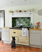 Dog sitting in front of AGA cooker below mantel hood with tiled splashback in shades of green