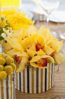 Bright table centrepiece; bouquets of yellow flowers in containers covered with striped fabric