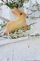 Sponge-cake Easter bunny amongst branches of blackthorn blossom