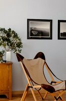Classic canvas chair with wooden frame in front of framed photos on wall painted pale blue
