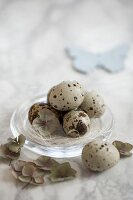 An Easter nest of quail's eggs on a glass plate