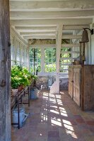 Rustic conservatory of farmhouse