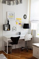 Modern work area in black, white and yellow