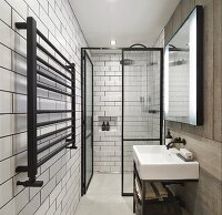 Narrow, purist bathroom with floor-level shower