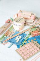 Vintage sewing utensils in pastel shades