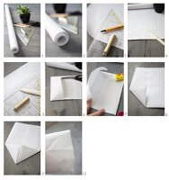 Instructions for making a paper bag from wrapping paper