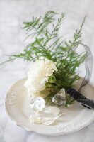Posy of carnations, asparagus fern and crystal on china plate