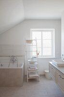 Attic bathroom with vintage ambiance
