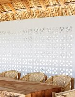 Wall made of ornate perforated bricks to let in light and air