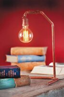 DIY reading lamp made from copper pipe and light bulb
