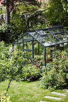 Greenhouse in summery garden