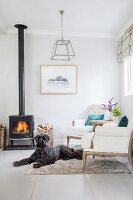 Dog in front of fire in black log-burning stove in comfortable lounge area