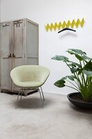 Yellow, zigzag, wall-mounted coat rack next to grey vintage cupboard, retro armchair and houseplant with large leaves