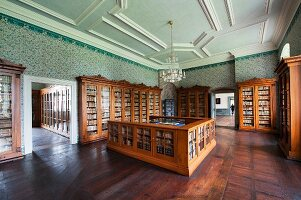 The library at Corvey – Biedermeier bookshelves and a counter in a room with a stucco ceiling