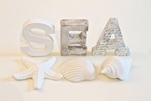 Wooden letters and seashells painted white