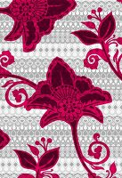 Tropical flowers on tribal background (print)