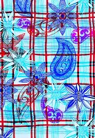 Flowers and paisley motifs on plaid background (print)