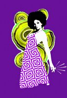 Disco design and woman with afro on purple background (print)