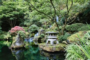 Tranquil pond with cascade waterfalls in a Japanese garden in Portland