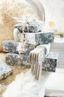 Wrapped presents stacked on fur-covered Rococo chair