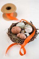 Speckled eggs in wicker Easter nest and orange ribbon