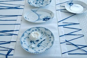 Table set in white and blue
