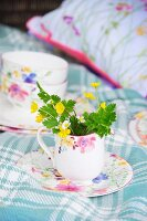Wild flowers in floral milk jug on matching saucer on white and blue tartan blanket