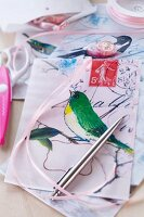Gift bags decorated with bird motifs for cards & sweets