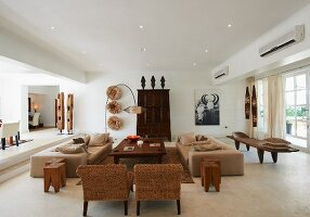 Hotel lounge decorated in contemporary, African style