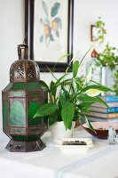 Antique lantern and potted peace lily