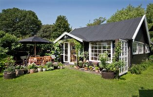 Small black-painted summer house with white lattice windows in sunny garden