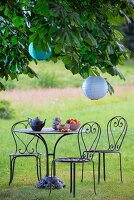 Curved metal table and chairs below lanterns hung in chestnut tree