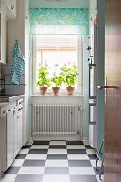 Kitchen with chequered floor and three pelargoniums on windowsill