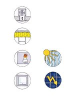 A pictogram of illustrations of energy saving tips