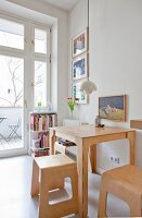 Plywood dining furniture in kitchen