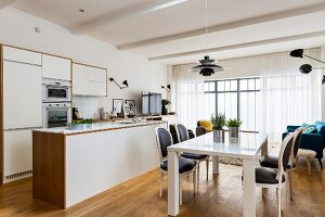 Modern multifunctional interior with living, dining and kitchen areas