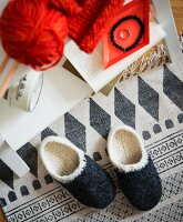 Homemade crocheted clogs made from felting wool