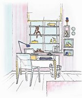 Illustration: a window shelving unit in front of a desk