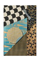 A collage of various wrapping papers with geometric design
