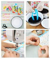 Decorating linen napkins with hand-dyed lace trim